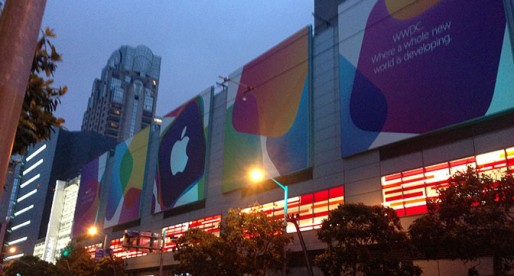 The mall across the street from Moscone West was decked out for the occasion.