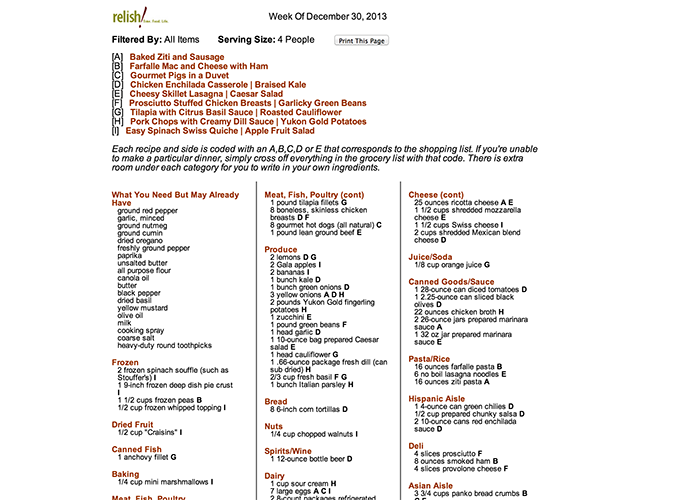 Relish Menu Planning grocery list print view