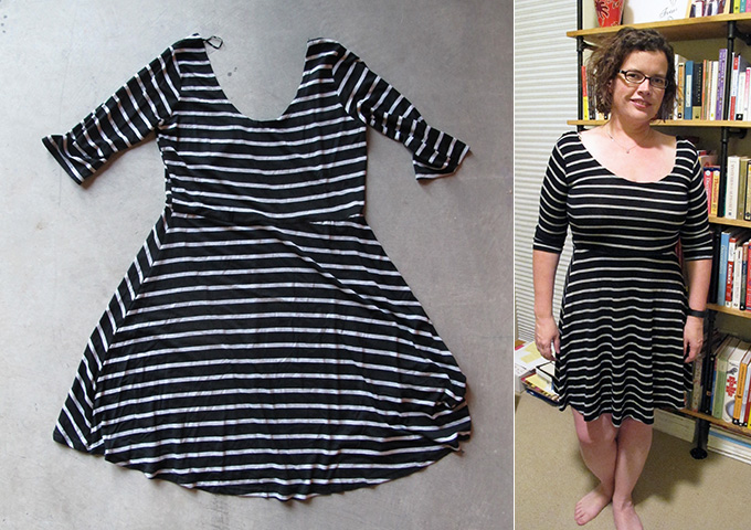 Angie Wes Striped 3/4 Sleeve Knit Dress