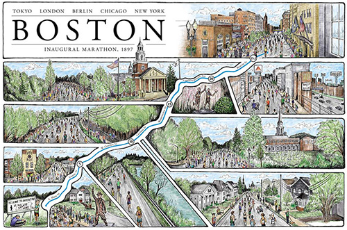 Boston Marathon Illustrated Map – Cape Horn Illustration