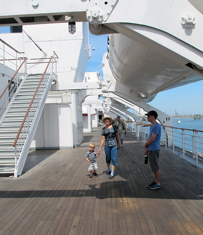 On the sun deck of the Queen Mary