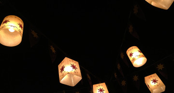 "The lanterns from ""Tangled"" hanging in New Fantasyland"